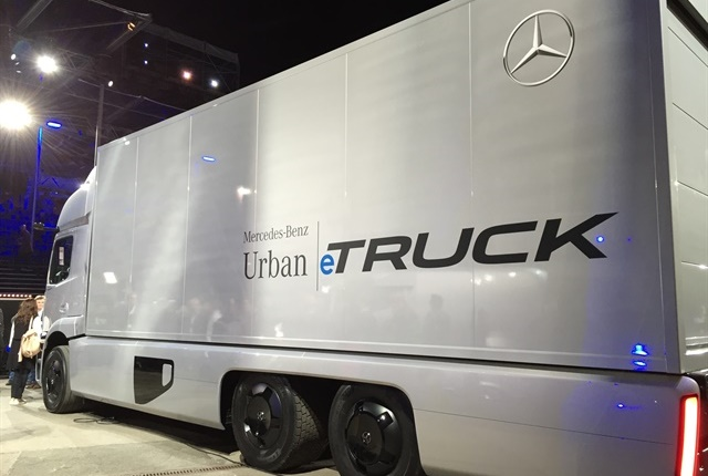 "Mercedes-Benz ""Urban eTruck"" concept vehicle was displayed by Daimler at IAA Show in 2016. Photo: Deborah Lockridge"