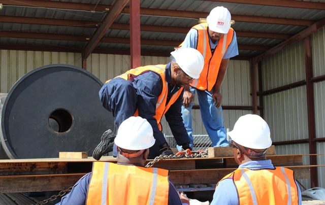 Cargo-securement training at WTI, one of the open-deck carriers in the Daseke family of companies. Photo: Daseke Inc.