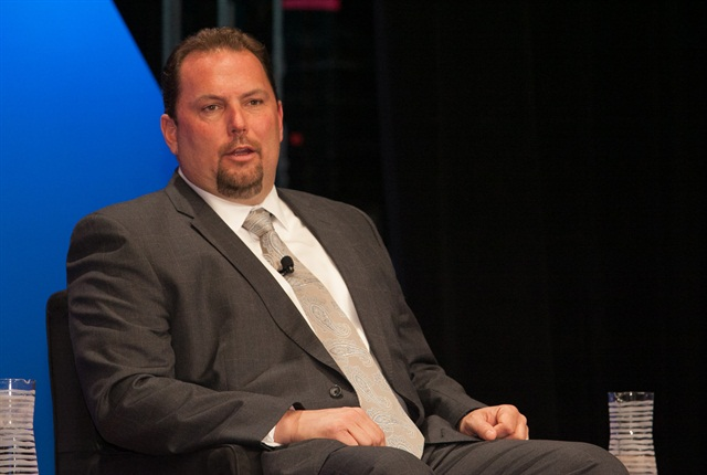 Derek Leathers in a panel discussion at the Truckload Carriers Conference in 2013. Photo: Deborah Lockridge