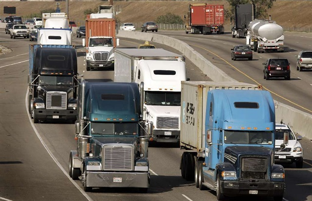 Heavy truck traffic on a California highway. Photo: U.S. Department of Transportation