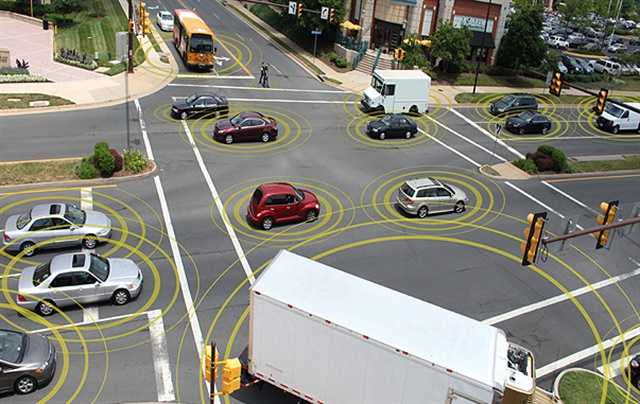 Artist rendering of connected vehicles on the road Image: U.S. Department of Transportation
