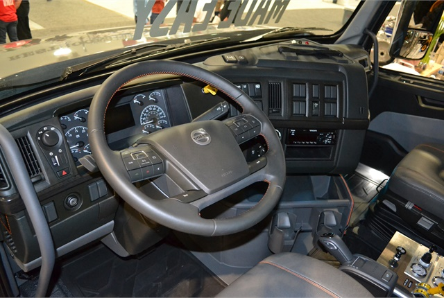 New VHD interior features Volvo's Position Perfect steering wheel, larger gauges and color displays, and switches close to the driver. Photo: Volvo Trucks North America