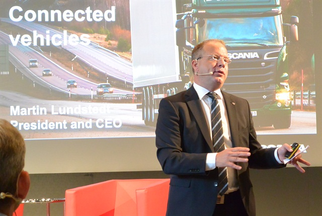 Martin Lundstedt, President & CEO, Scania Group spoke about connected trucks. Photo: Sven-Erik Lindstrand