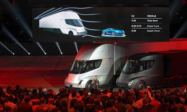 Tesla chief Elon Musk talks to a crowd during the Semi unveiling. Photo: Tesla