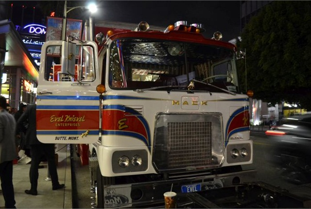 "Evel Knieval's 1974 Mack FS cabover ""Big Red"" outside the premiere of the film Being Evel. Photos: Steven Martinez"