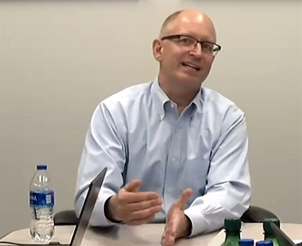 DTNA President and CEO Roger Nielsen talks to reporters about meeting customer demands for trucks, uptime, and technology. (Video call screen capture.)