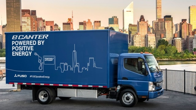One of the electric trucks that are adding to the growth in future estimates is the Mitsubishi eCanter. (Photo courtesy of Mitsubishi Fuso)