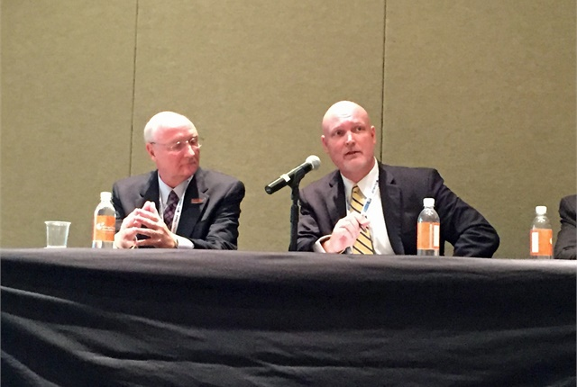 Jim Ward of D.M. Bowman and Collin Mooney of CVSA talk ELDs at ATA MC&E. Photo: Deborah Lockridge