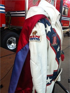 Leather riding suits kept Knievel from breaking more than the 40 bones he did fracture during his stunt career. Photo via Mack Trucks