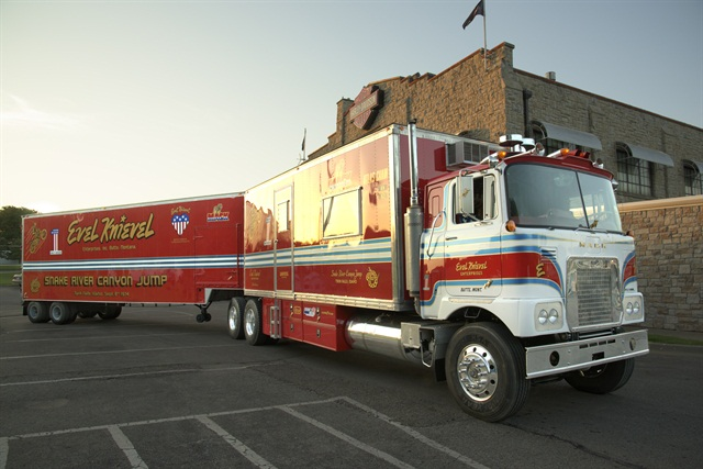 Knievel once used the rig to tour the U.S. and Canada. Found in a field in Florida, it was taken to Topeka, Kans., for restoration. Photo via Mack Trucks