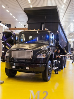 A Business Class M2 at the Freightliner booth at last fall's Expo Transporte in Mexico. (Photo by Rolf Lockwood)