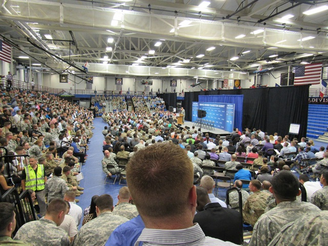 "Service men and women who are transitioning to civilian life attending a ""hiring fair"" at Fort Drum, New York, sponsored by Fastport. Photo: Fastport"
