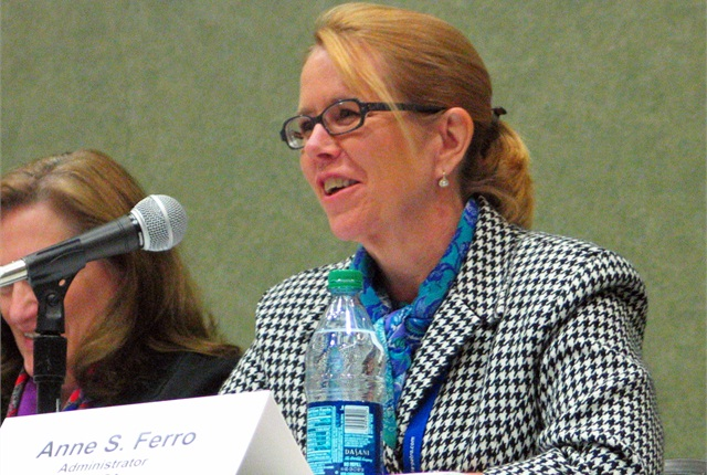 FMCSA Administrator Anne Ferro speaks to one of the people offering their comments during Friday's listening session.