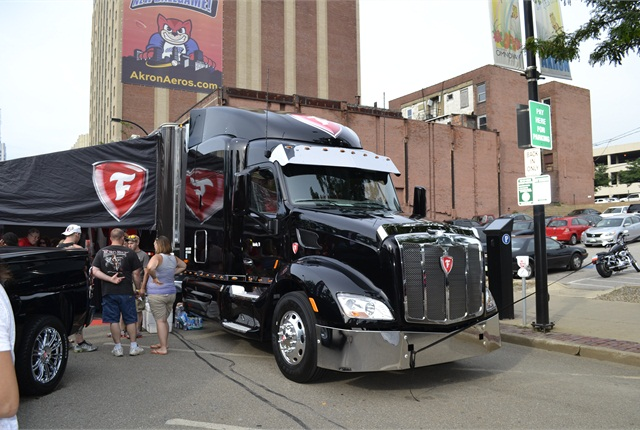 The grand prize in the Drive a Firestone Sweepstakes is a special Firestone Edition Class 8 tractor. The truck is on display at the minor league ballpark in Akron, Ohio, on July 16, the first stop on a tour to promote Firestone-brand truck tires. Class 8 CDL holders are eligible to enter the sweepstakes