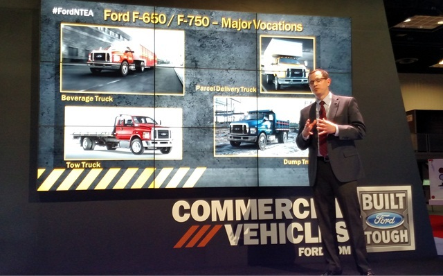 Ford's John Davis says upcoming F-650/750 will suit many applications, and powertrains were tested for heavy service. Photo by Tom Berg