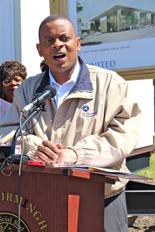 DOT Secretary Anthony Foxx in Birmingham, Ala, earlier this month on his bus tour. Photo: Evan Lockridge