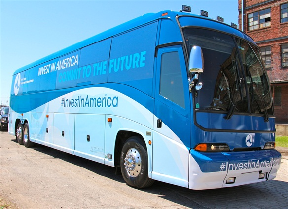 The transportation secretary's bus tour is traveling through eight states this week to highlight the importance of transportation investment. Photo: Evan Lockridge
