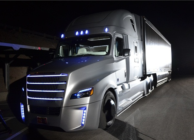 Freightliner Inspriation autonomous truck at its rollout last Spring. Photo: Stephane Babcock