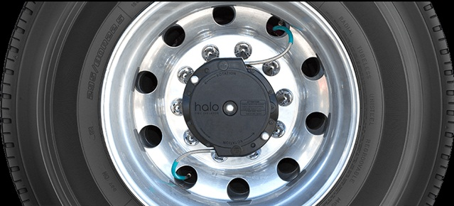 Halo bolts onto an axle hub and uses the wheel's rotational motion to drive an internal pump to maintain air pressure in a tire.