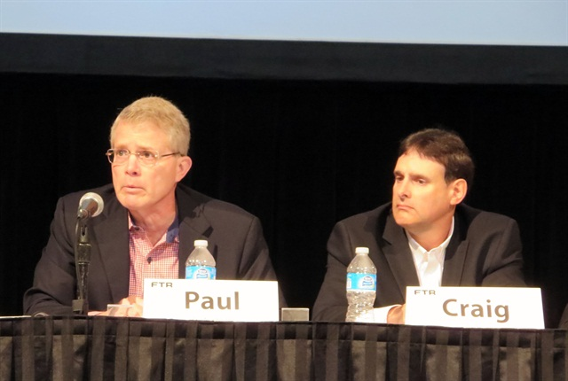Paul Newbourne of Armada, left, and Craig Brown of Maverick Transportation talk about the capacity crunch. (Photo: Deborah Lockridge)