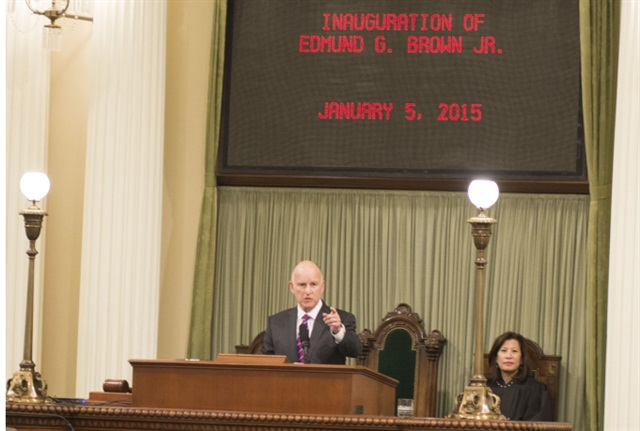 Governor Brown delivers inaugural address. Photo: Brad Alexander, Office of the Governor.