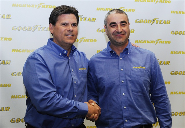 Gary Medalis, left, marketing director, Goodyear commercial tire systems and Ivan Vasovic, last year's Goodyear Highway Hero: Photo via Goodyear