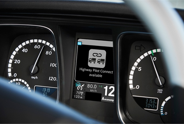 The dash display indicates Highway Pilot Connect is available. Photo: Daimler Trucks