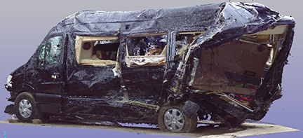 NTSB investigators documented the damage to the vehicles using 3D laser scanning technology. This is a scan of the Mercedes‑Benz limo van involved in the crash.