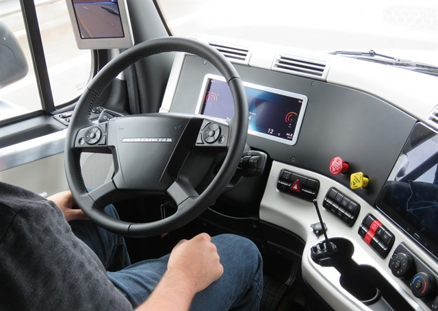 Hands-off on the highway in the Freightliner Inspiration, a demo vehicle for autonomous-driving technologies. Photo: David Cullen