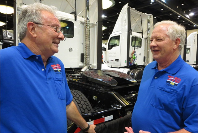 Geroge Arrants, a long-time leader in the SuperTech program (left), and Michael Meredith, this year's Professional Development chairman, say that a crew of supervisors and judges from fleets, suppliers and technical schools are ready to test 131 technicians beginning Monday.