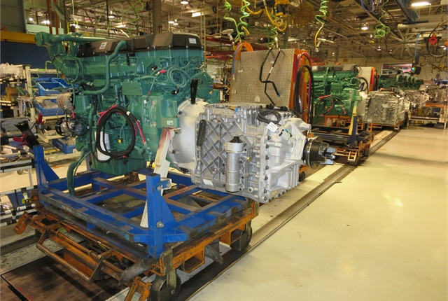 Green Volvo diesel mated to silver I-Shift AMT is by far the most common powertrain installed in Volvo trucks in its New River Valley, Va., plant.