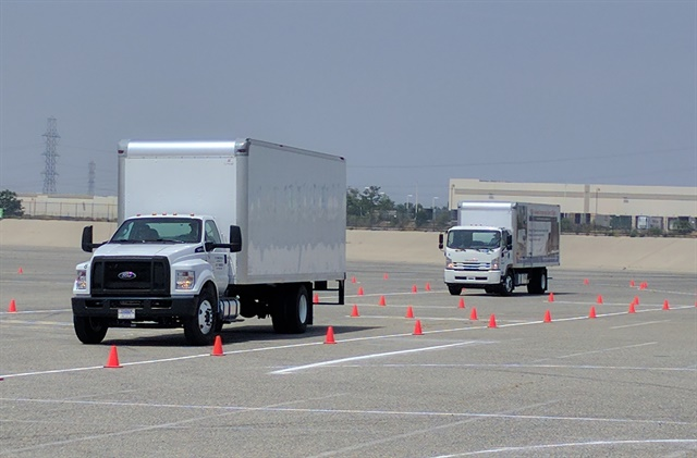 A cone course designed to exhibit the FTR's handling and maneuverability was set up at the Auto Club Speedway in Fontana, Calif. Photo: Steven Martinez