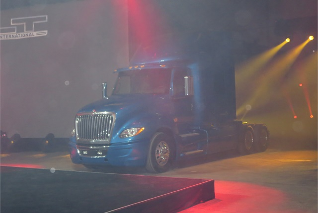 International LT625 sleeper-cab tractor appears amid clearing smoke at Navistar's 'Vegas-worthy launch event on Friday. Photos: Tom Berg