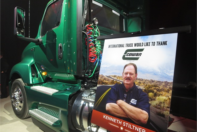 Cowan Systems' Kenneth Stiltner was among the fleet drivers who took Navistar executives on runs. Cowan operates ProStar daycabs and sleepers, and will begin acquiring LT tractors next year, said its president, Dennis Morgan.