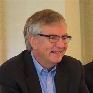 DTNA CEO Martin Daum talks to reporters in Philadelphia. Photo: Deborah Lockridge