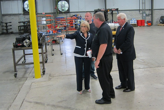 Rep. Diane Black (far left) and State Rep. Kelly Keisling (far right) tour Fitzgerald Glider Kits' plant in Jamestown, Tenn., in May. Robert Fitzgerald (background-left) and Tommy Fitzgerald Jr. (foreground-center), head the company.  Photo courtesy Rep. Diane Black's office.