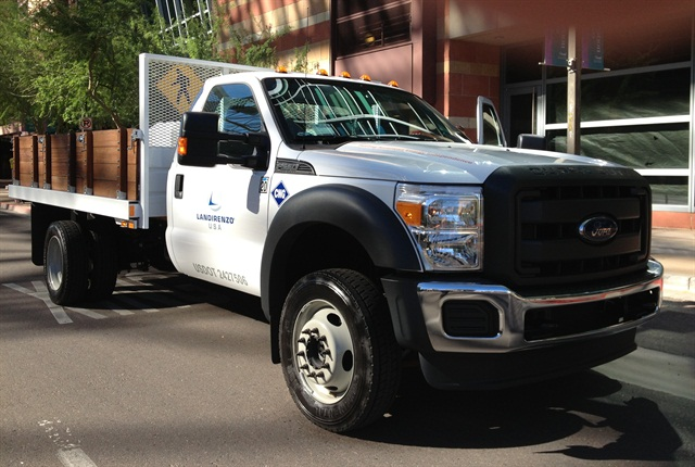 "The attractive price of natural gas fuel, like that used in this bi-fuel Ford F-550, could put pressure on other ""green"" alternatives."