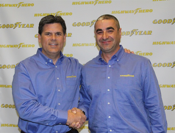Gary Medalis, left, marketing director, Goodyear commercial tire systems and Ivan Vasovic, 31st Goodyear Highway Hero. Photo: Evan Lockridge