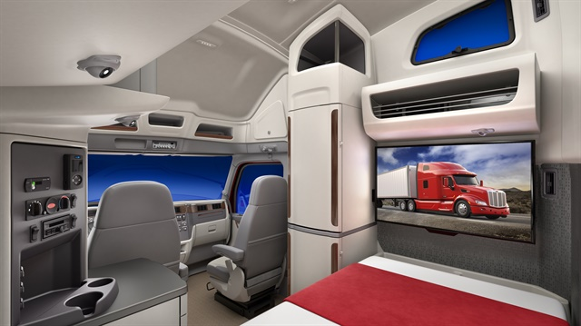 There's space for a large TV at the end of the lower bunk. Photo: Peterbilt