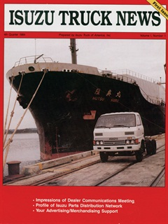 The first Isuzu to be sold in the U.S. was featured in the company's first issue of its magazine.