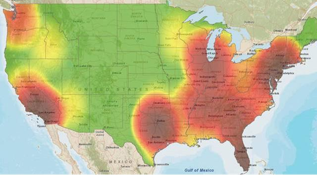 The darkest areas on this map show where truck cargo thefts happened the most in the thrid quarter of the year. Credit: FreightWatch International