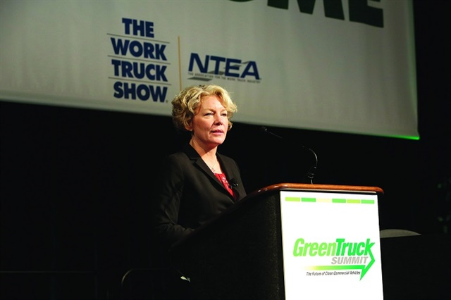 """Daimler's Kary Schaefer explains why she thinks that green innovation """"goes beyond reducing tailpipe emissions."""" Photo: NTEA"""