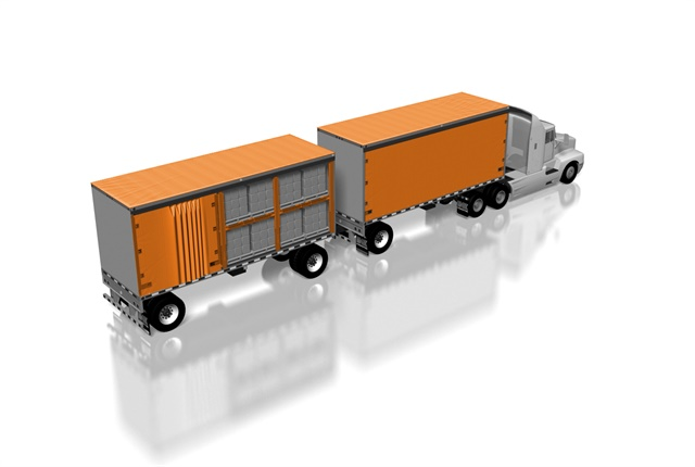 A double-decking system for curtain-side trailers maximizes load density.