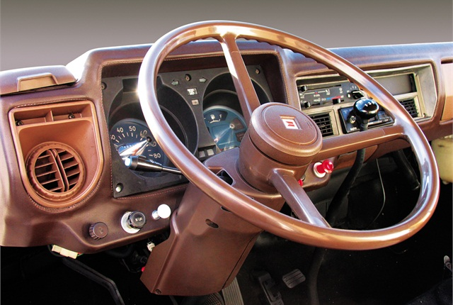 The interior of the restored Isuzu.