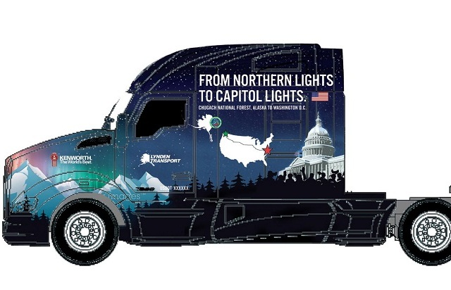 A specially decaled Kenworth T680 undertakes an important mission this fall – transporting this year's U.S. Capitol Christmas Tree some 3,000 miles to 10 community celebrations en route to the tree-lighting event in Washington, D.C. Image: Kenworth