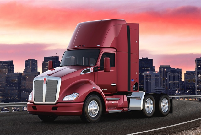 Kenworth plans to build two proof-of-concept Kenworth T680 Day Cab drayage tractors, like the CNG-fueled truck pictured here, to transport freight from the Ports of Los Angeles and Long Beach to warehouses and railyards along the I-710 corridor in the Los Angeles basin.