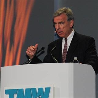 John Larkin speaking at TMW TransForum. Photo by Jim Beach.