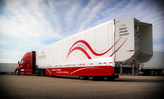 Trailers like this one being used by Nussbaum Transportation, equipped with aerodynamic fairings, plus low rolling-resistance tires and inflation devices, will probably meet EPA and NHTSA's Phase 2 GHG standards into 2027.  Photo courtesy Nussbaum Transportation