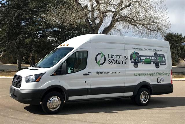 Photo of electrified Transit cargo van courtesy of Lightning Systems.