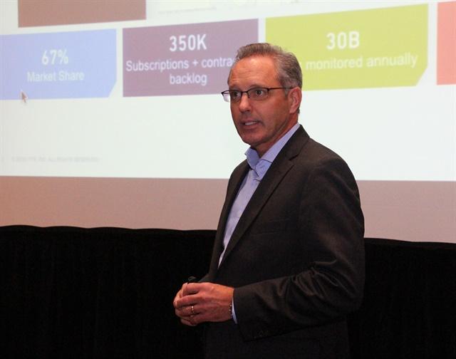 Lytx Chairman & CEO Brandon Nixon describes new enhancements to the DriveCam video-based telematics safety program. Photo: Evan Lockridge.